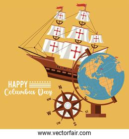 happy columbus day celebration with ship and world map