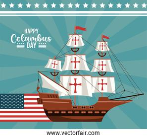 happy columbus day celebration with sailboat and usa flag