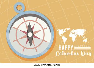 happy columbus day celebration with compass guide and continents