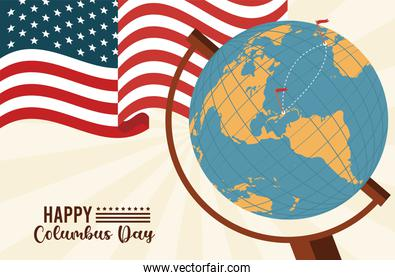 happy columbus day celebration with usa flag and earth map