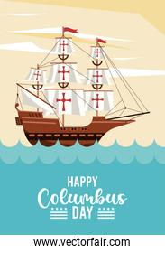 happy columbus day celebration with sailboat and ocean scene