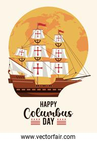 happy columbus day celebration with sail boat and earth planet