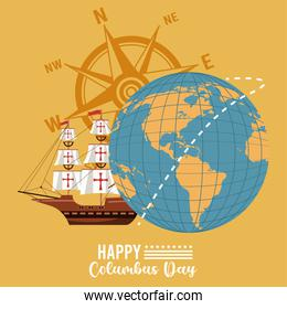 happy columbus day celebration with sailboat and compass
