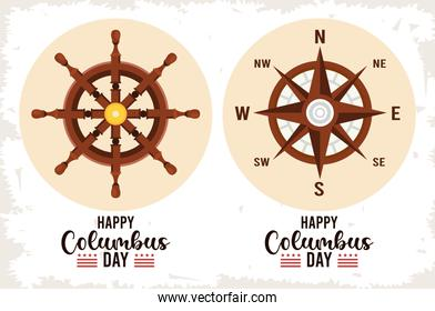 happy columbus day celebration with ship rudder and compass guide