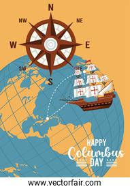 happy columbus day celebration with boat and earth planet