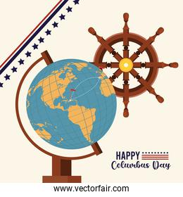 happy columbus day celebration with world map and ship rudder