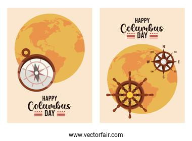 happy columbus day celebration with earth planets and letterings
