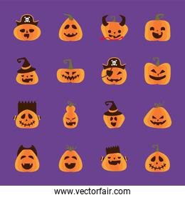 bundle of halloween pumpkins in purple background flat style icons