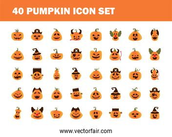 bundle of fourty halloween pumpkins flat style icons