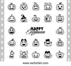 bundle of halloween pumpkins and lettering line style icons