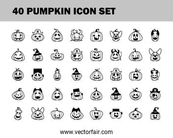 bundle of fourty halloween pumpkins line style icons