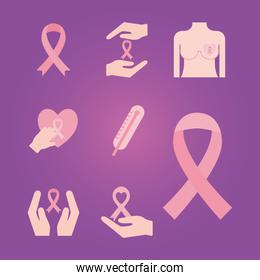 breast cancer flat style set of icons vector design