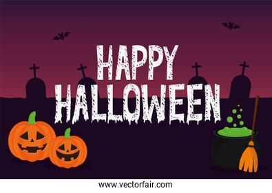 Halloween pumpkins cartoons with witch bowl at cemetery vector design