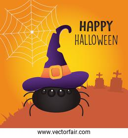 Happy halloween concept, cartoon spider with witch hat over orange background, colorful design