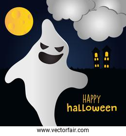 Happy halloween design with cartoon ghost and horror castle