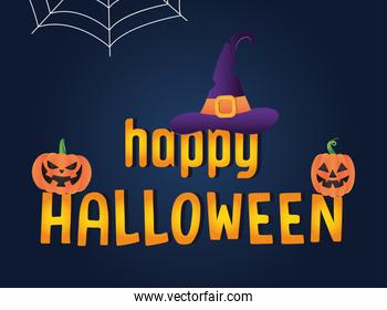 Happy halloween design with witch hat and halloween pumpkins