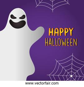 Happy halloween design with cartoon ghosts and spiderwebs