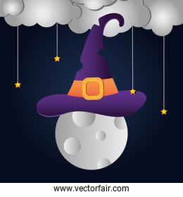 Happy halloween design with full moon with witch hat