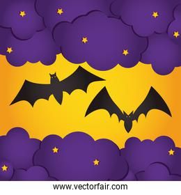 happy halloween design with bats and purple clouds and stars