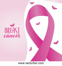 breast cancer design with ribbon and butterflies around
