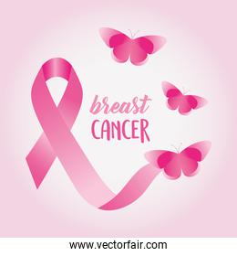 breast cancer design with pink butterflies and ribbon
