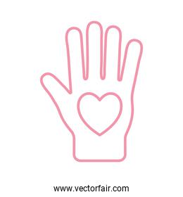 Heart on hand line style icon vector design