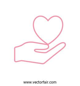 Heart over hand line style icon vector design