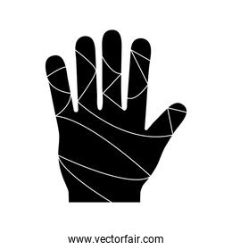hand with bandages silhouette style icon vector design