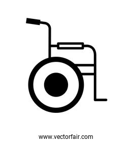 wheelchair silhouette style icon vector design