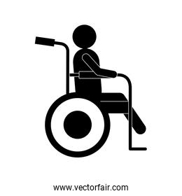 man on wheelchair silhouette style icon vector design
