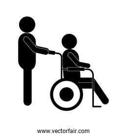 man helping other on wheelchair silhouette style icon vector design