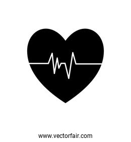 Medical heart pulse silhouette style icon vector design
