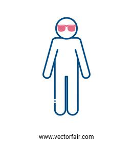 blind man with glasses line style icon vector design