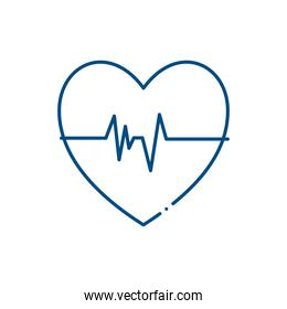 Medical heart pulse line style icon vector design