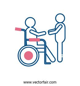 man helping other on wheelchair line style icon vector design