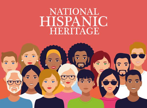 national hispanic heritage celebration lettering with group of people