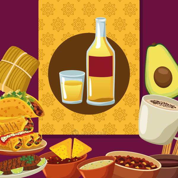 mexican Food and tequila bottle set icons