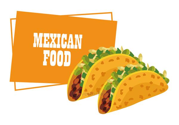mexican food lettering poster with tacos