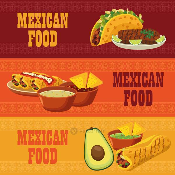 mexican food letterings in poster with set menus