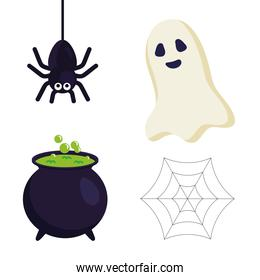 halloween spider ghost witch bowl and spiderweb vector design