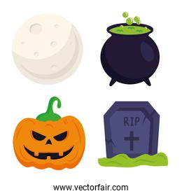 halloween pumpkin grave witch bowl and moonvector design