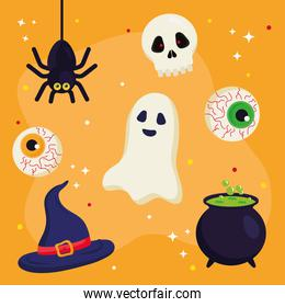 halloween ghost hat skull eyes spider and witch bowl vector design