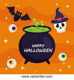 happy halloween with witch bowl vector design