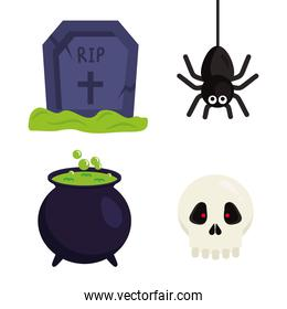 halloween grave spider witch bowl and skull vector design