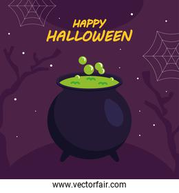 happy halloween with witch bowlvector design
