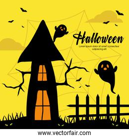 halloween house with ghosts vector design