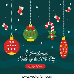 christmas sale with spheres with boots vector design