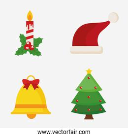 Merry christmas candle hat bell and pine tree vector design