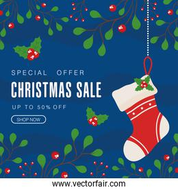 christmas sale with boot and leaves vector design