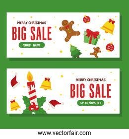 christmas sale with candle and icon set vector design